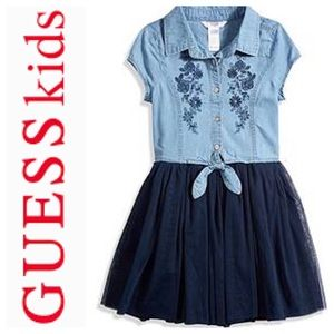 GUESS Kids Denim Tulle Embroidered dress